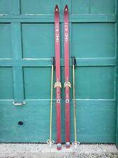 """A Very Interesting Vintage Wooden 78"""" Long Skis Red Finish Signed Touring Ski"""