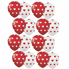 16X Red & White Assorted Valentine Heart Balloons Happy Birthday Party Supplies
