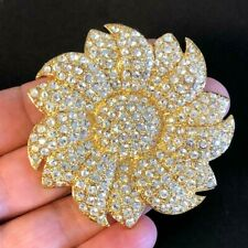 Rhinestone Crystal Flower Brooch Gold Jbk Jacqueline Kennedy Reproduction Clear