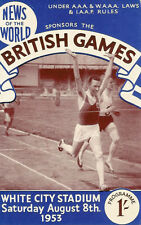 BRITISH GAMES ATHLETICS PROGRAMME 8 Aug 1953 WHITE CITY, LONDON