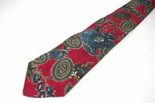 Italian Silk Paisley Necktie Red Teal Tone on Tone Tie
