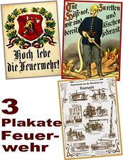 DREI historische Plakate FEUERWEHR zum Sonderpreis