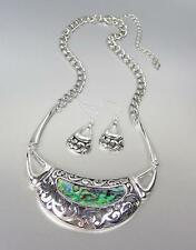 NATURAL Mother of Pearl Shell Inlay Antique Silver Filigree Metal Necklace Set