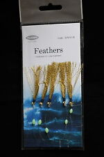 12 PACKS GOLD SPARK 5 HOOK SIZE 1/0 FISHING MACKEREL FEATHERS LURES SEA POLLACK