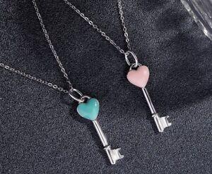 Girl Women Key Heart Love Pendant Choker Necklace in Sterling Silver Gift Box A2