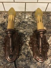 Pair Restored Antique Riddle Co. Wall Sconces Wired Wall Lights 21D