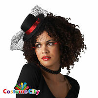 Burlesque MINI TOP HAT with Veil Showgirl Cabaret Hen Night Party Fancy Dress