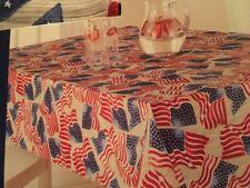 "Celebrate Americana Patriotic USA Flag Fabric Tablecloth 60"" X 84"" Oblong"