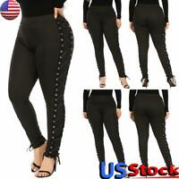 Plus Size Women High Waist Pants Ladies Punk Gothic Lace Up Leggings Trousers US