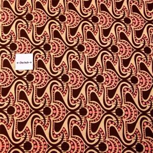 Peach Pink & Brown Geometric Cotton Fabric by Benartex, (See Varied Sizes)