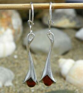 Beautiful 925 Sterling Silver & Baltic Amber Designer Earrings SilverAmber K048