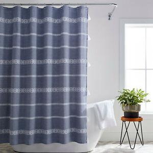 Better Homes & Gardens Boho Chic Cotton Shower Curtain Chambray 72 x 72 Tassels