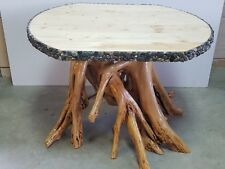 UNIQUE YELLOW BIRCH ROOT BALL STUMP COFFEE ENDTABLE W/PINE TOP & ROCK EDGING NEW