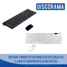 TASTIERA E MOUSE OTTICO WIRELESS USB SENZA FILI 2.4 GHZ PC DESKTOP WI FI SOTTILE