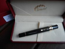 STIPULA DA VINCI BLACK AND GOLD RETRACTABLE FOUNTAIN PEN 2017 MODEL 14K NIB