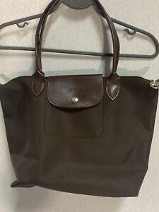 Longchamp Black Nylon Brown Leather Medium Le Pliage Tote Bag