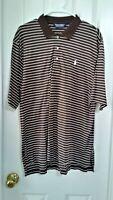 Mens Ralph Lauren Polo Golf Short Sleeved Brown White Stripe Shirt L Large