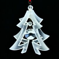 """Vtg Christmas Ornament 3D Tree Frosted Plastic Lucite Crystal Center Bead 2.75"""""""