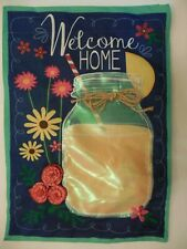 """""""Welcome Home"""" Iridescent Mason Jar Lemonade, Daisy Flower, Summer Garden flag"""