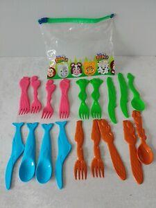 Hefty Zoo Pals Funtensils Plastic Children's Utensils Set of 18 Flamingo Frog