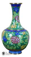"Vintage Chinese Cloisonne Bud Vase Vibrant Flowers Floral Enamel Brass 10.5"""