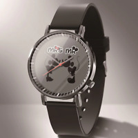 Micky Mouse Cartoon  Analog Quartz Wrist Watch Black Stainless Steel