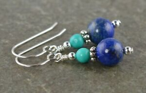 Blue Lapis Lazuli, Turquoise & Sterling Silver Drop Earrings with Gift Box