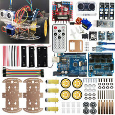 4WD Robot Car Kit UNO BLE4 IR Autonomous Avoid Line Follow iOS Android 4 Arduino