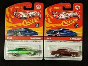 Lot Of 2 Hot Wheels Classics Chevy Monte Carlos Red & Green Christmas Lowriders!