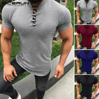 Herren Slim Fit Kurzarm Muscle Tee Slim T-Shirt V-Ausschnitt Schnür-Tops Sommer