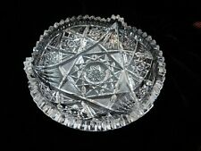 Lead Crystal Saw Tooth Cut Dish Bowl Hobstar ? ABP  Star of David?  Vintage
