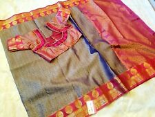 Pure Kora Muslin Silk Saree with rich border/ready blouse fits upto 42