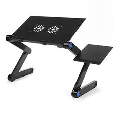 Adjustable Aluminum Laptop Desk Stand Vented Table with Cooling Fan Mouse Pad