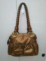 B.Makowsky Copper Tone Leather Tote Shoulder Bag Purse w/ Braids Leather Handles