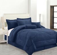 7 Piece Solid Luxury Hotel Comforter Set Bed In A bag All Sizes - Navy Blue