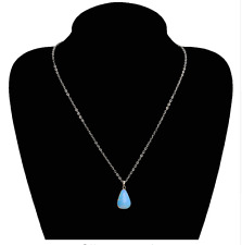 Crystal Chakra Dowsing Reiki Pendant Necklace Opal Moon stone Droplet TearDrop