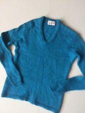 Vtg 60s Jantzen Turquoise Mohair V Neck Sweater Sz Xs