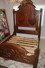 Victorian Renaissance 1880's Antique Carved Walnut & Burl Bed & Dresser & Mirror