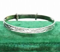 Vintage Sterling Silver Childs Adjustable Bracelet Christening Art Deco #W420
