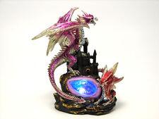 "Two Dragon Castle Geode Light 10"" Tall Light Figurine Statue Everspring EISR-55"