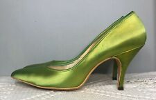 womens 8 vintage stiletto pumps heels Green Satin 1950s 1960s pointed toe 70s