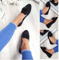 LADIES WOMENS POM POM FLAT LOAFERS PUMPS BALLET SUEDE FUR FASHION SHOES SIZE 3-8