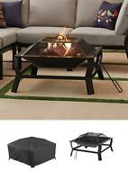 """Square 30"""" Outdoor Wood Burning Backyard Fire Pit Patio with Mesh Spark Guard"""