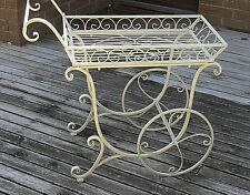 FRENCH provincial PLANTER trolley antique IVORY  flower cart cottage outdoor New