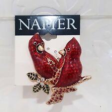 Napier Red Cardinal BIRDS Brooch Pin Winter Holida Christmas Rhinestone NWT