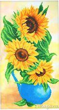 Stickpackung mit Perlen Stickset Stickvorlage Stickbild Blume Sonnenblume 60