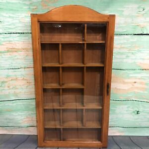 Vintage Hanging Curio Cabinet Knick Knack Wall Display with Beveled Glass Door