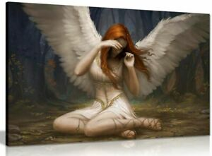 Angel Weeping Fantasy Canvas Wall Art Picture Print