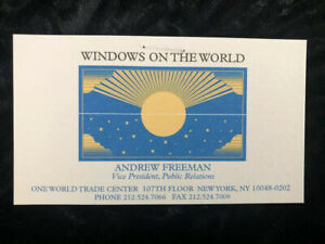 Business Card WORLD TRADE CENTER NEW YORK WINDOWS ON THE WORLD RESTAURANT +COA