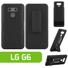 Holster Shell Combo Case Cover with Swivel Belt Clip + Media Kickstand for LG G6